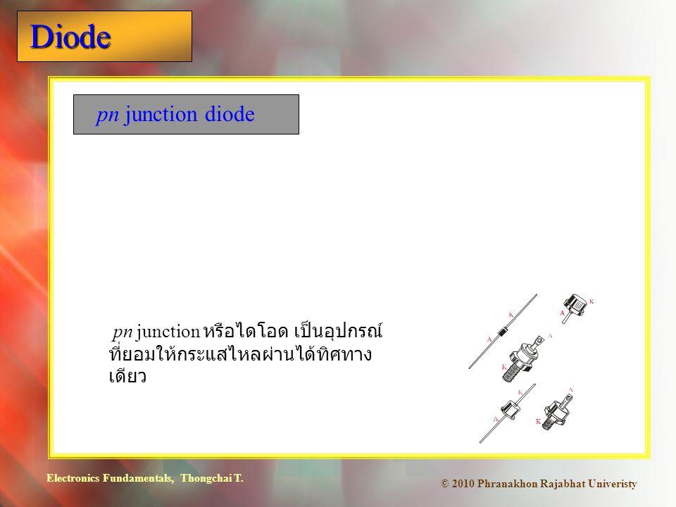pn junction diode pn junction หรือไดโอด เป็นอุปกรณ์ที่ยอมให้กระแสไหลผ่านได้ทิศทางเดียว