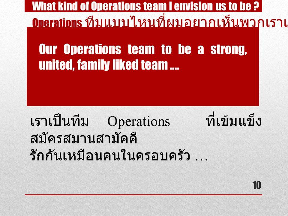 เราเป็นทีม Operations ที่เข้มแข็ง สมัครสมานสามัคคี