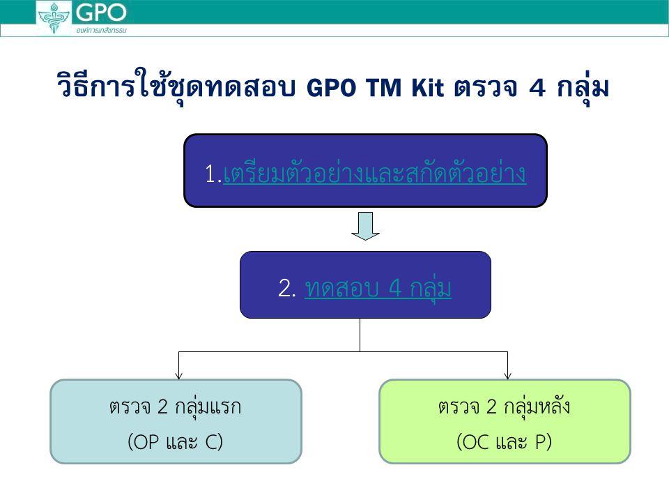 วิธีการใช้ชุดทดสอบ GPO TM Kit ตรวจ 4 กลุ่ม