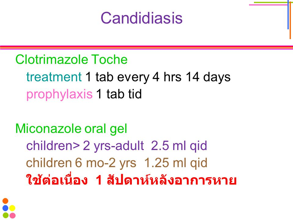 Candidiasis Clotrimazole Toche treatment 1 tab every 4 hrs 14 days