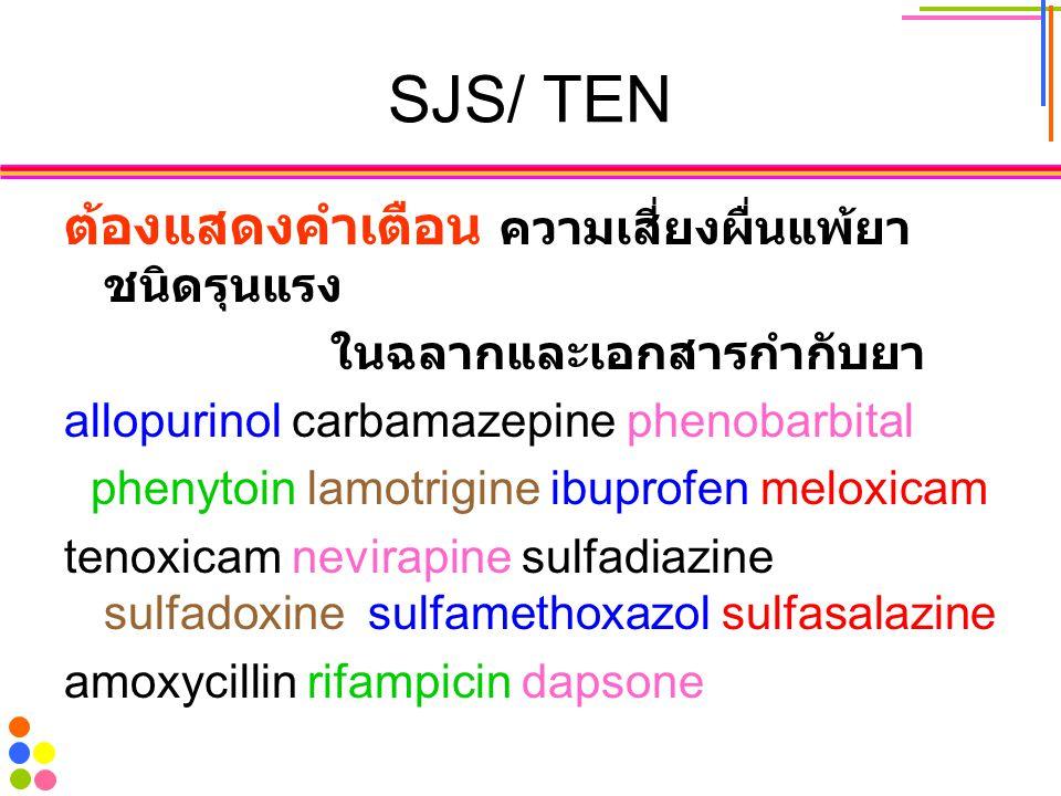 SJS/ TEN ต้องแสดงคำเตือน ความเสี่ยงผื่นแพ้ยาชนิดรุนแรง