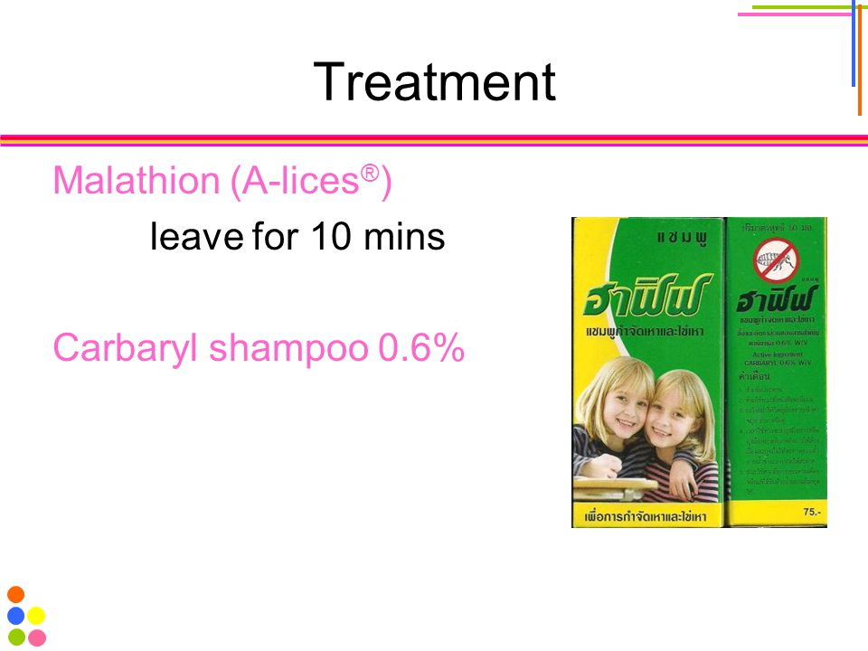 Treatment Malathion (A-lices®) leave for 10 mins Carbaryl shampoo 0.6%