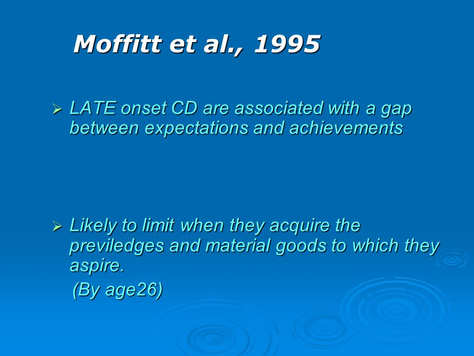 Moffitt et al., 1995 LATE onset CD are associated with a gap between expectations and achievements.
