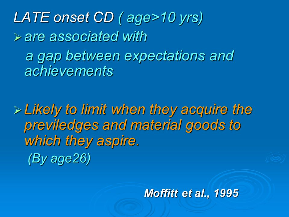 LATE onset CD ( age>10 yrs) are associated with