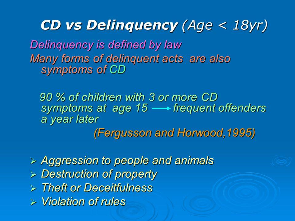 CD vs Delinquency (Age < 18yr)