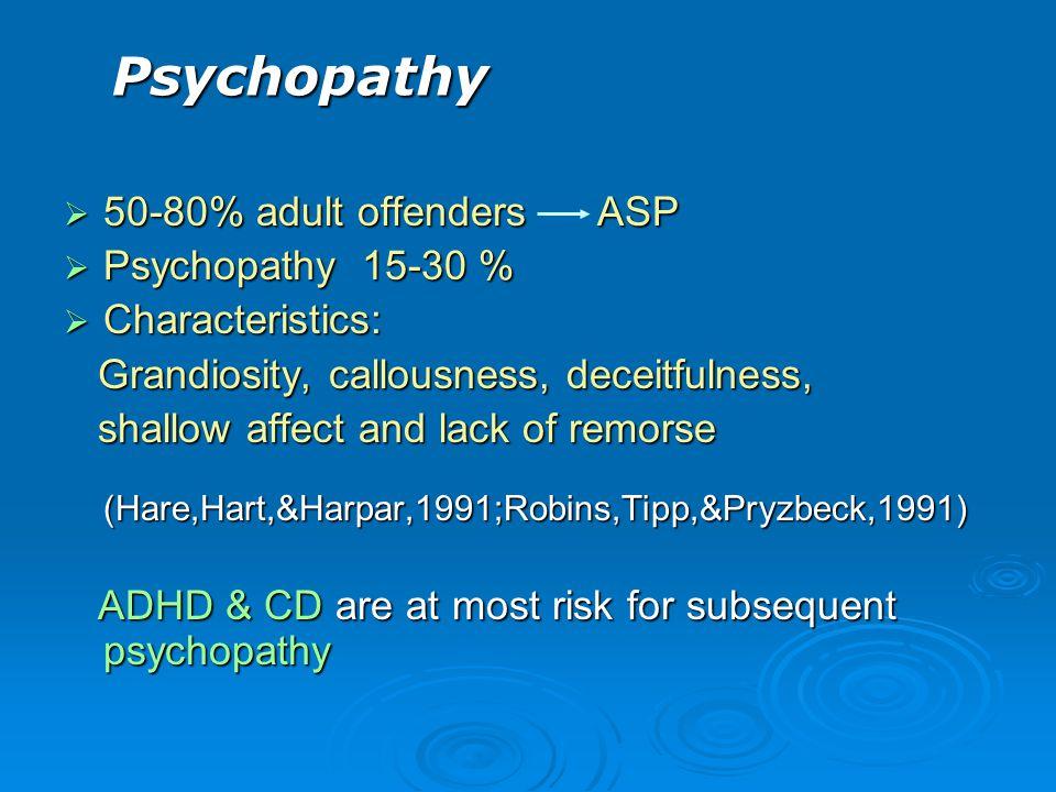 Psychopathy 50-80% adult offenders ASP Psychopathy 15-30 %