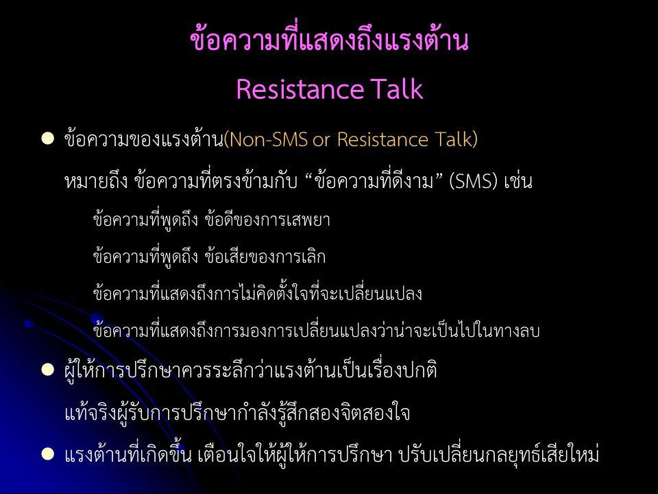 ข้อความที่แสดงถึงแรงต้าน Resistance Talk