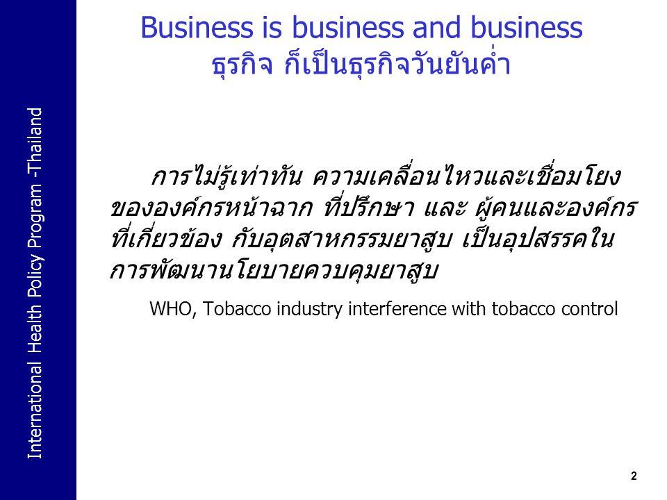 Business is business and business ธุรกิจ ก็เป็นธุรกิจวันยันค่ำ