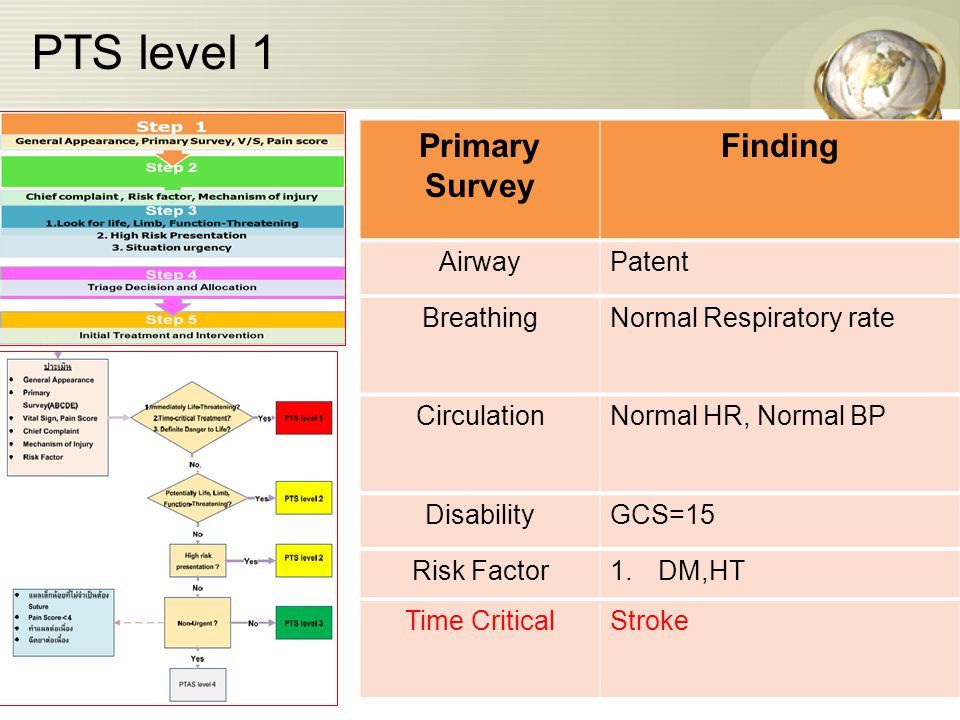 PTS level 1 Primary Survey Finding Airway Patent Breathing