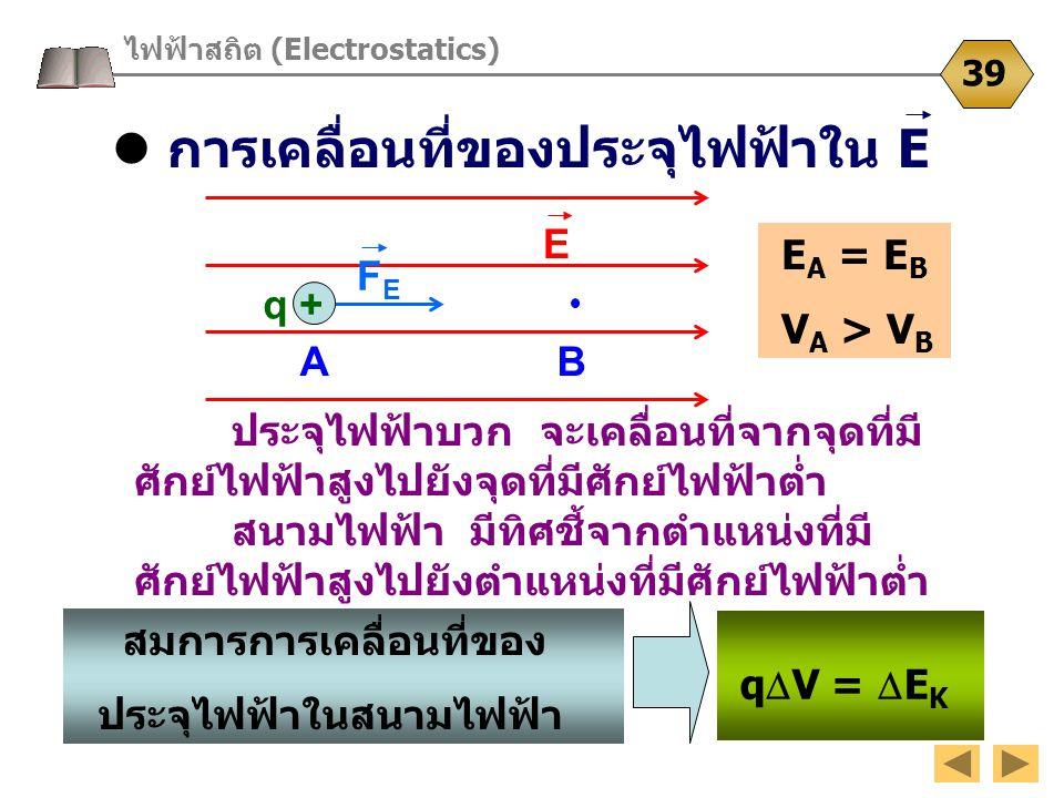  การเคลื่อนที่ของประจุไฟฟ้าใน E