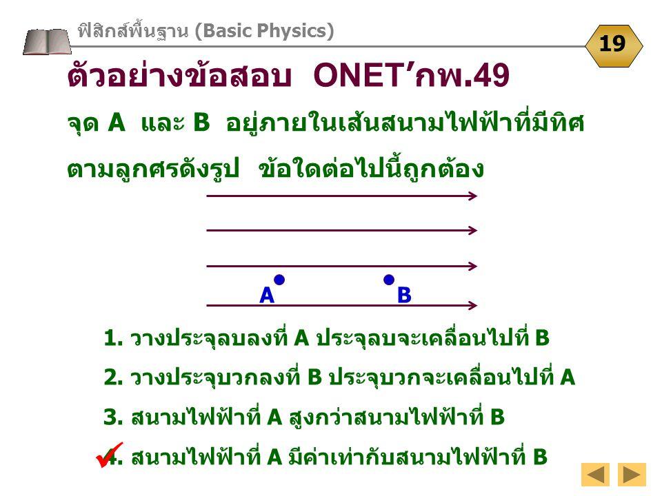  ตัวอย่างข้อสอบ ONET'กพ.49 จุด A และ B อยู่ภายในเส้นสนามไฟฟ้าที่มีทิศ