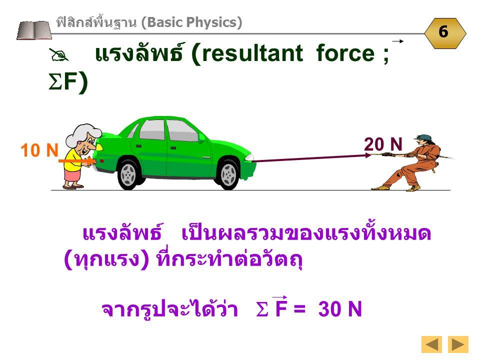  แรงลัพธ์ (resultant force ; F)
