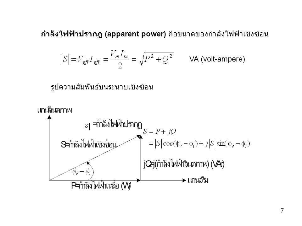 กำลังไฟฟ้าปรากฏ (apparent power) คือขนาดของกำลังไฟฟ้าเชิงซ้อน