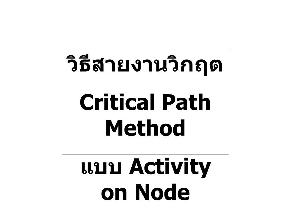 วิธีสายงานวิกฤต Critical Path Method แบบ Activity on Node