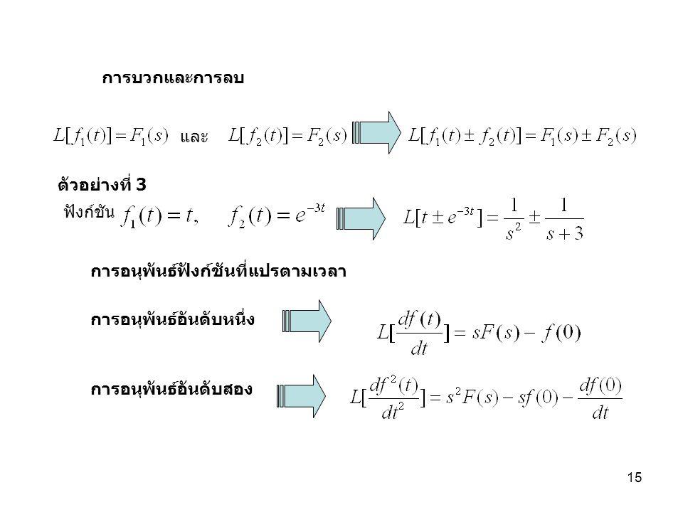 การบวกและการลบ และ. ตัวอย่างที่ 3. ฟังก์ชัน. การอนุพันธ์ฟังก์ชันที่แปรตามเวลา. การอนุพันธ์อันดับหนึ่ง.
