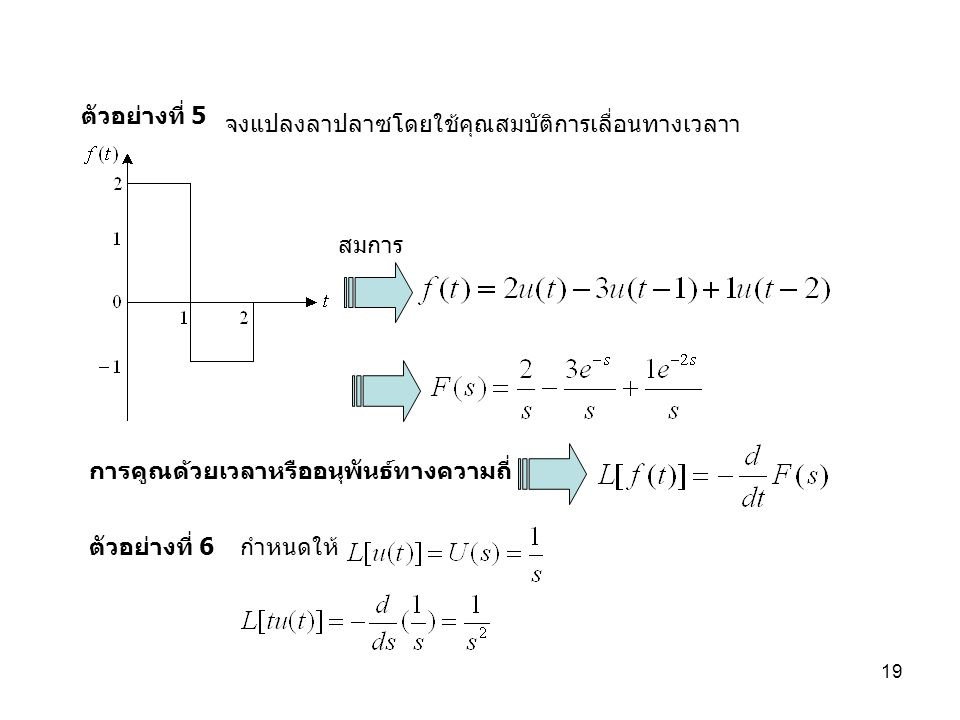 ตัวอย่างที่ 5 จงแปลงลาปลาซโดยใช้คุณสมบัติการเลื่อนทางเวลาา. สมการ. การคูณด้วยเวลาหรืออนุพันธ์ทางความถี่