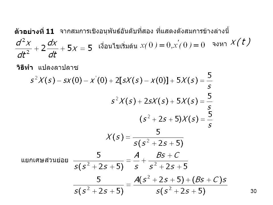 ตัวอย่างที่ 11 จากสมการเชิงอนุพันธ์อันดับที่สอง ที่แสดงดังสมการข้างล่างนี้ จงหา. เงื่อนไขเริ่มต้น.