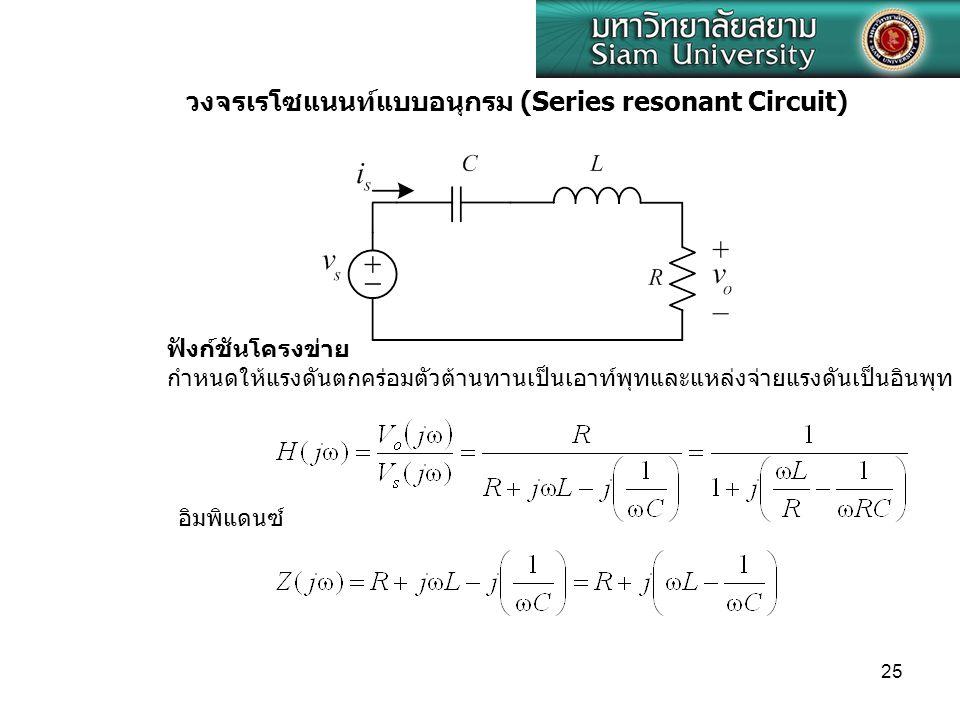 วงจรเรโซแนนท์แบบอนุกรม (Series resonant Circuit)