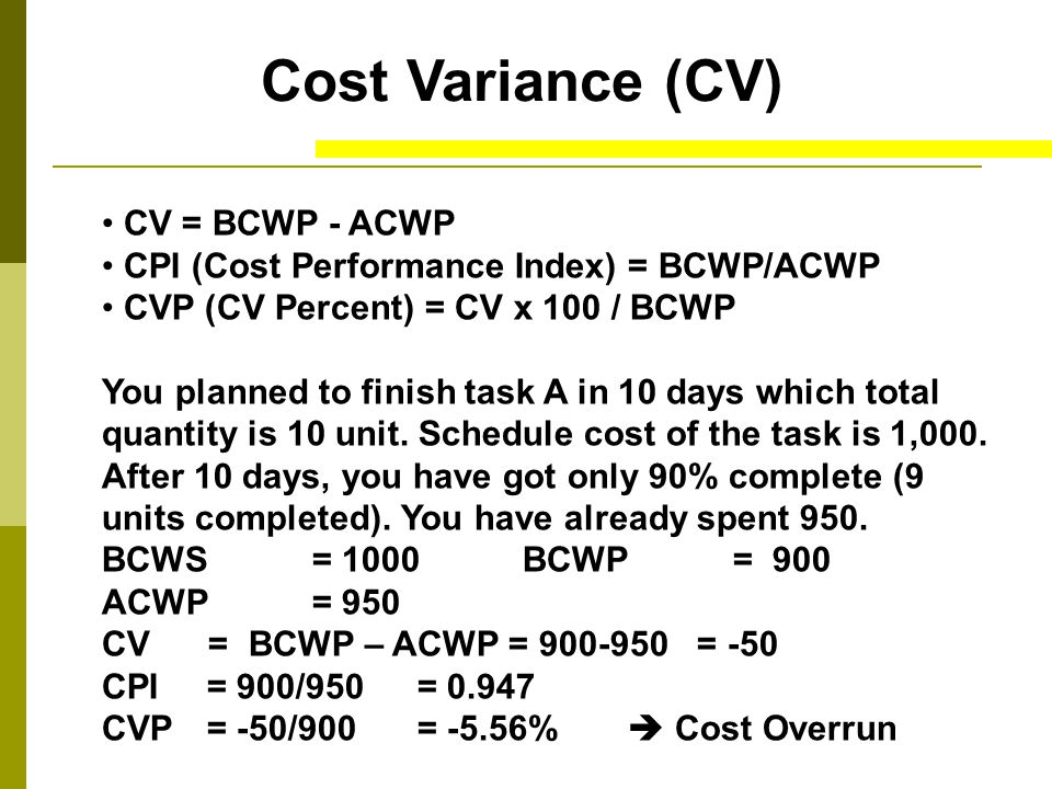 Cost Variance (CV) CV = BCWP - ACWP