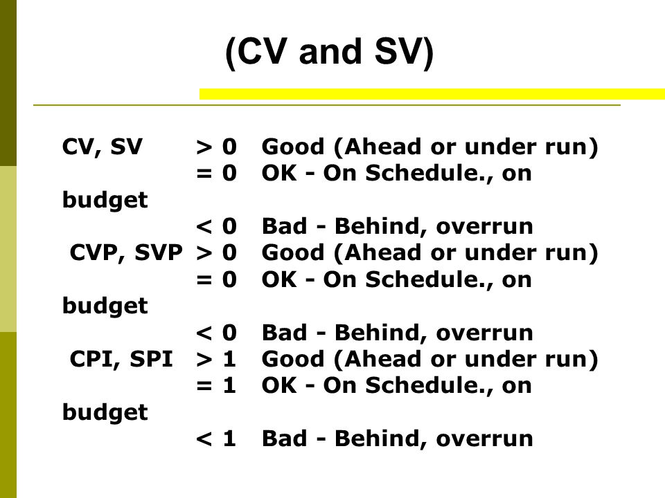 (CV and SV) CV, SV > 0 Good (Ahead or under run) = 0 OK - On Schedule., on budget < 0 Bad - Behind, overrun.