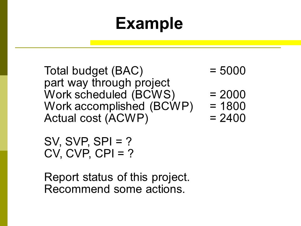 Example Total budget (BAC) = 5000 part way through project