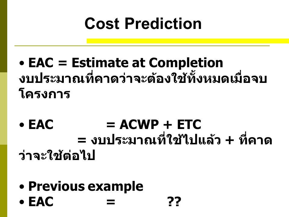 Cost Prediction EAC = Estimate at Completion งบประมาณที่คาดว่าจะต้องใช้ทั้งหมดเมื่อจบโครงการ.