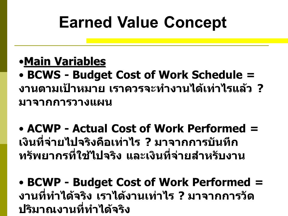 Earned Value Concept Main Variables