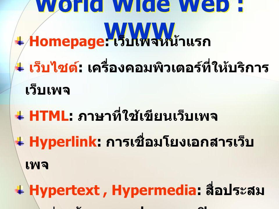 World Wide Web : WWW Homepage: เว็บเพจหน้าแรก