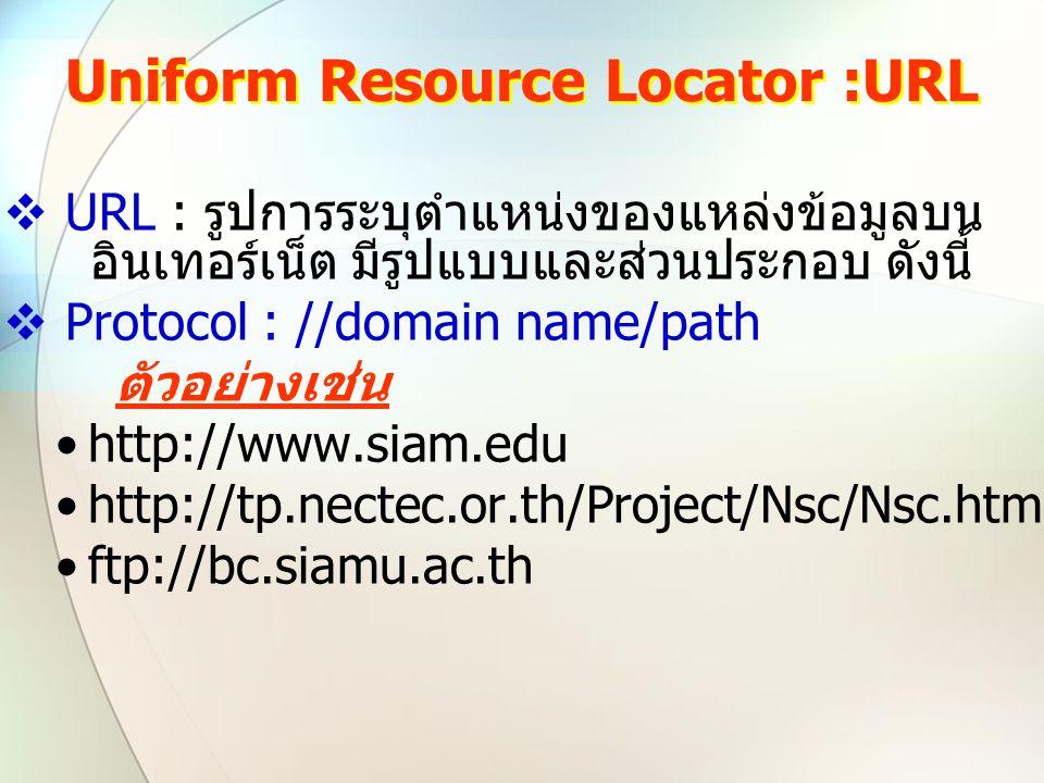 Uniform Resource Locator :URL