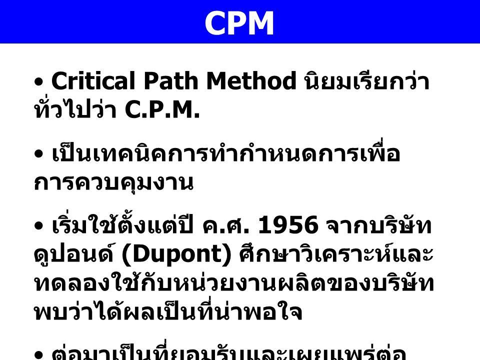 CPM Critical Path Method นิยมเรียกว่าทั่วไปว่า C.P.M.