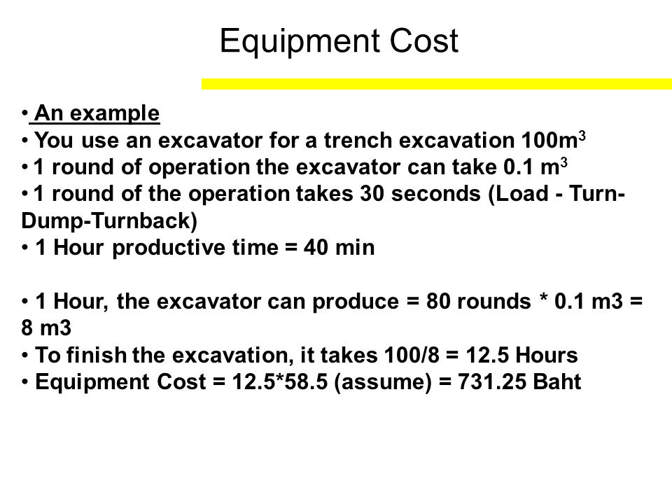Equipment Cost An example
