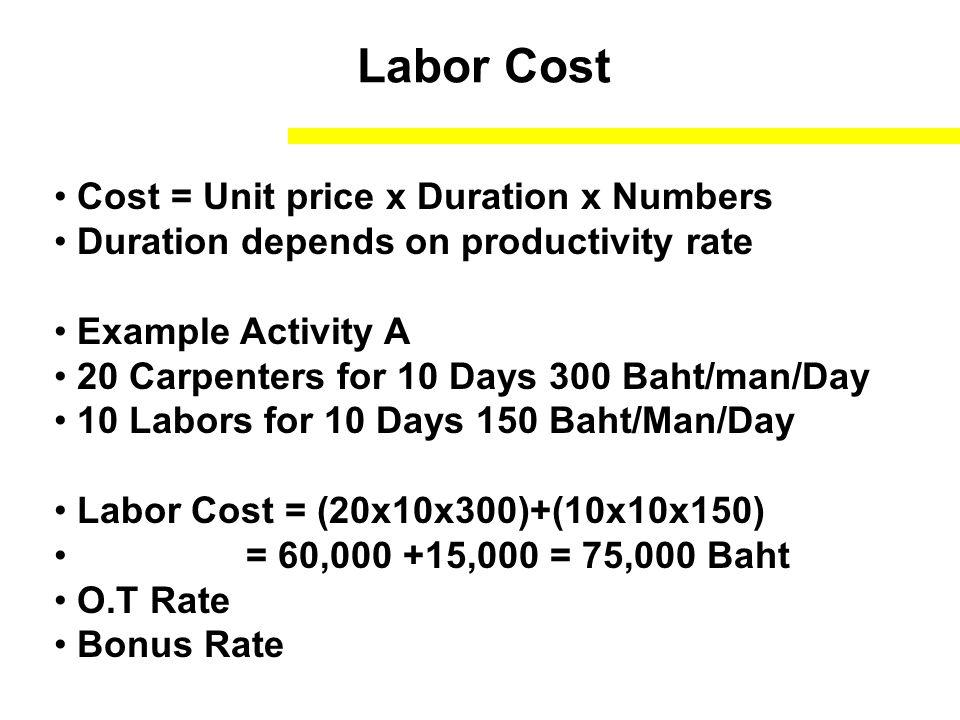 Labor Cost Cost = Unit price x Duration x Numbers