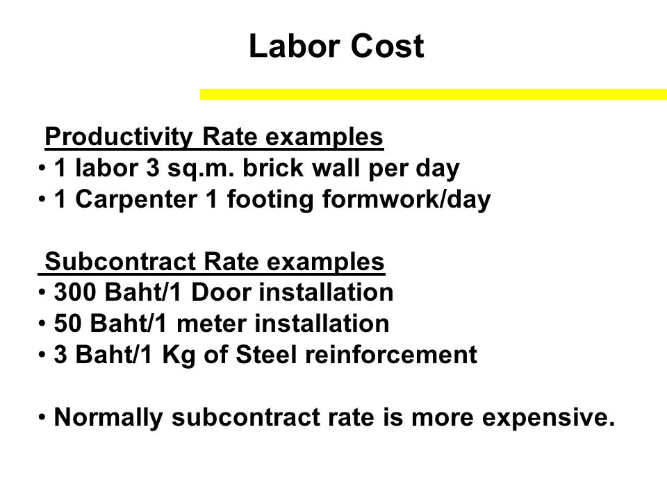 Labor Cost Productivity Rate examples