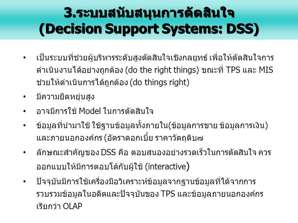 3.ระบบสนับสนุนการตัดสินใจ (Decision Support Systems: DSS)