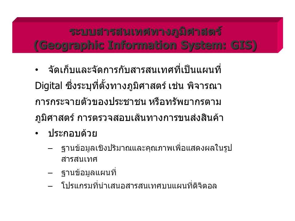 ระบบสารสนเทศทางภูมิศาสตร์ (Geographic Information System: GIS)