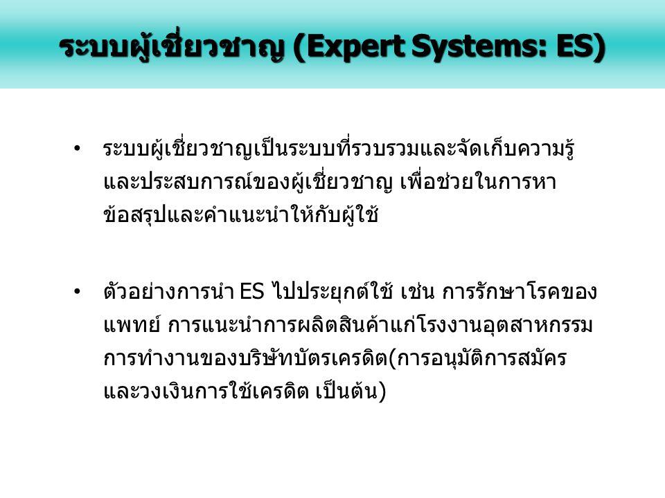 ระบบผู้เชี่ยวชาญ (Expert Systems: ES)