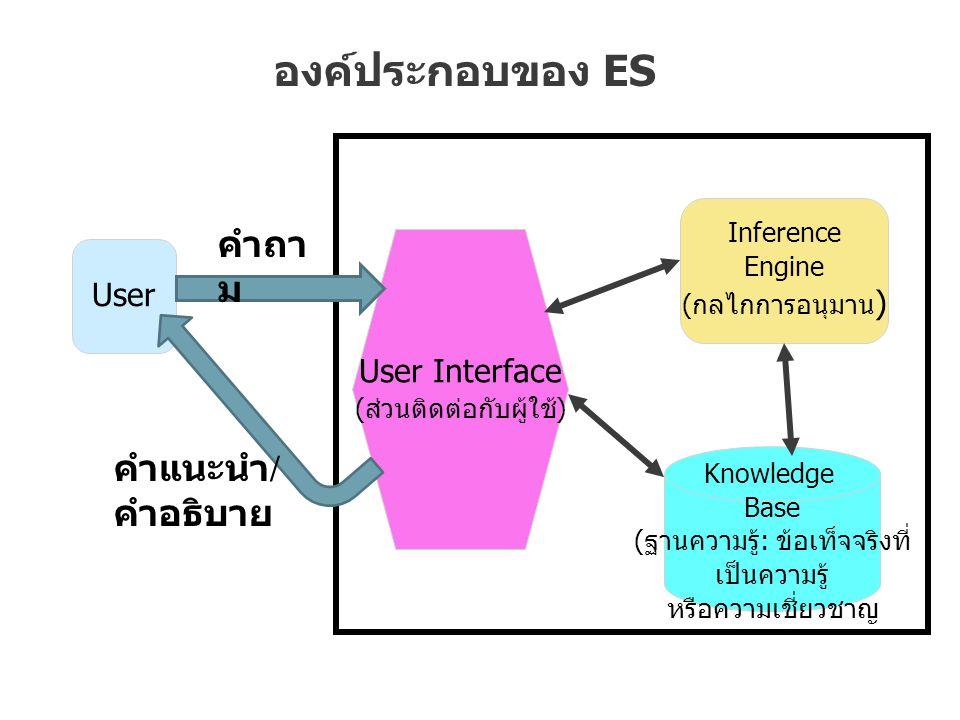 องค์ประกอบของ ES คำถาม คำแนะนำ/คำอธิบาย User User Interface Inference