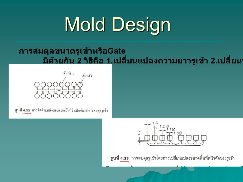 Mold Design การสมดุลขนาดรูเข้าหรือGate