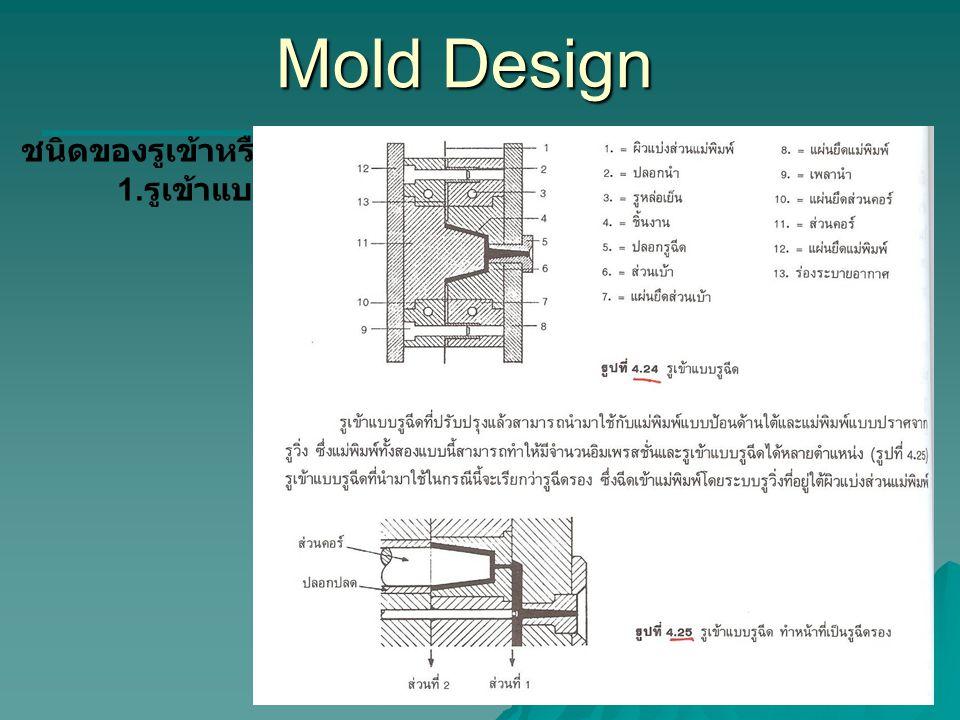 Mold Design ชนิดของรูเข้าหรือGate 1.รูเข้าแบบรูฉีด