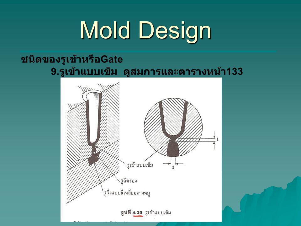 Mold Design ชนิดของรูเข้าหรือGate