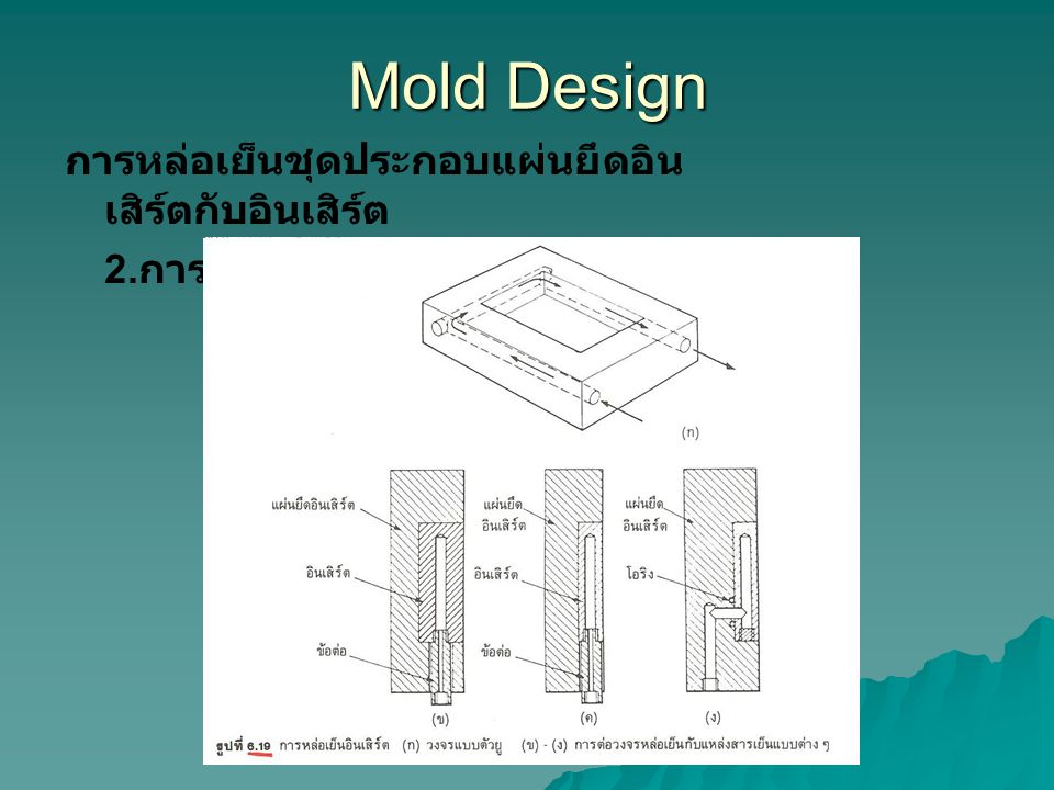 Mold Design การหล่อเย็นชุดประกอบแผ่นยึดอินเสิร์ตกับอินเสิร์ต