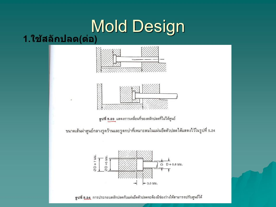 Mold Design 1.ใช้สลักปลด(ต่อ)
