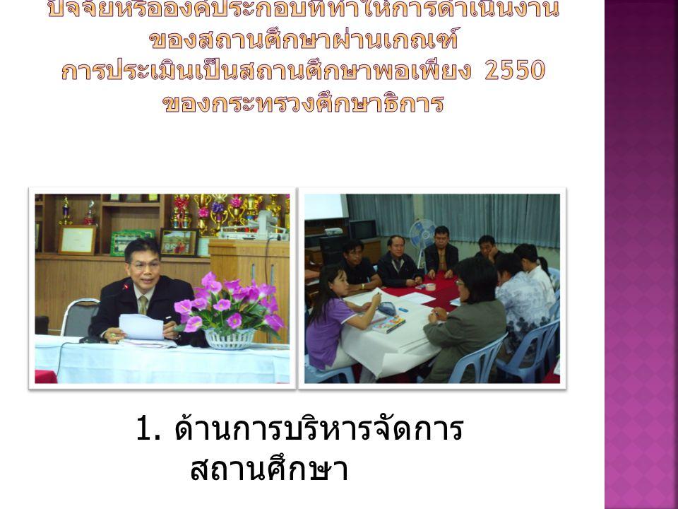 1. ด้านการบริหารจัดการสถานศึกษา