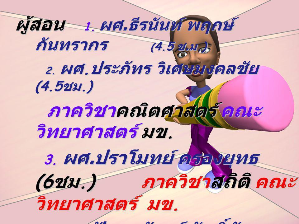 4. ผศ.ปัณณวัฒน์ ศักดิ์ทัศนา (30ชม.)