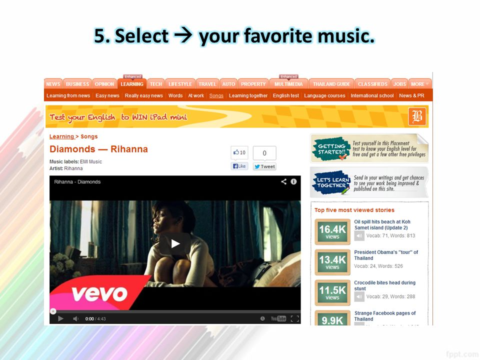 5. Select  your favorite music.