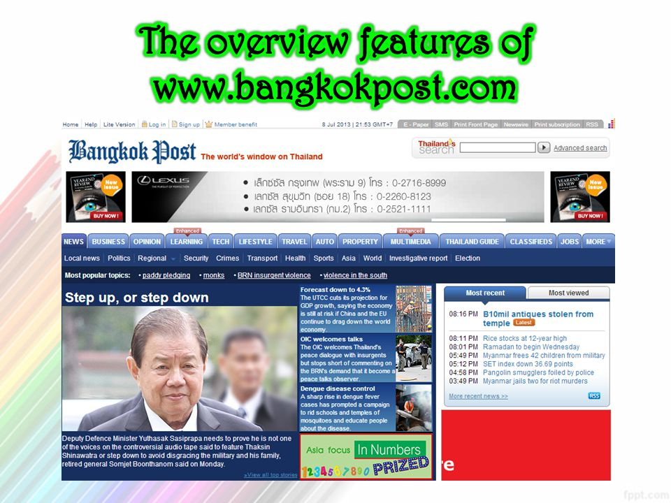 The overview features of www.bangkokpost.com
