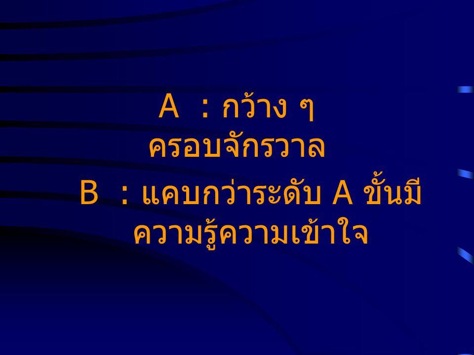 B : แคบกว่าระดับ A ขั้นมีความรู้ความเข้าใจ