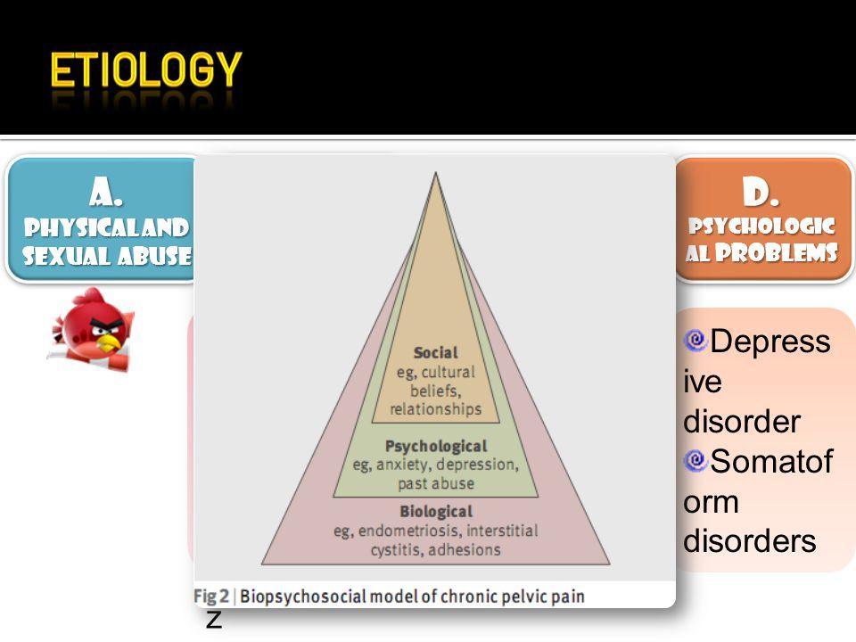 A. B. C. D. Endometriosis Bowel dysmotility Depressive disorder