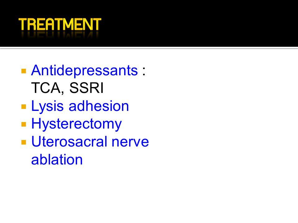 Antidepressants : TCA, SSRI