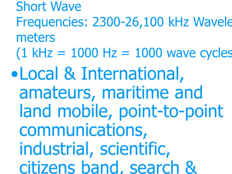 Short Wave Frequencies: 2300-26,100 kHz Wavelengths: 11-130 meters (1 kHz = 1000 Hz = 1000 wave cycles per second)